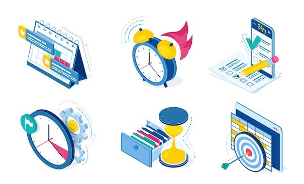 Ikony zarządzania zadaniami i czasem z zegarem, kalendarzem, listą kontrolną i smartfonem na białym tle. izometryczne symbole planowania pracy i organizacji projektów