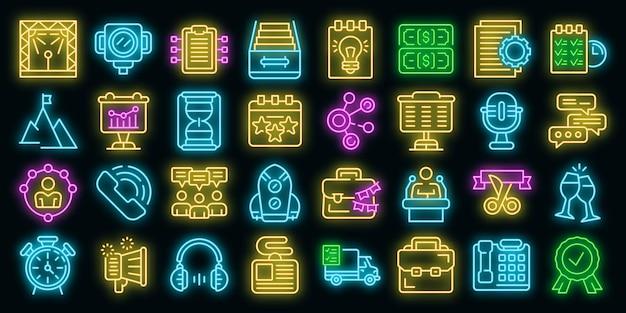 Ikony zarządzania zdarzeniami ustawić wektor neon