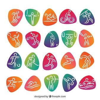 Ikony zawodów sportowych z kolorowymi abstrakcyjnymi kształtami