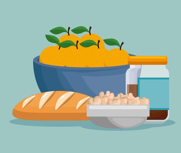 Ikony zdrowego menu żywności