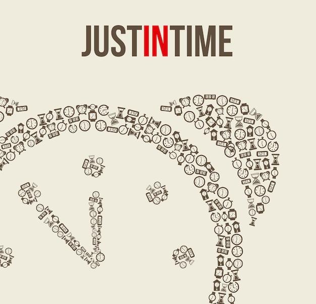 Ikony zegara na beżowym tle ilustracji wektorowych