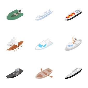 Ikony żeglarskie, izometryczny styl 3d