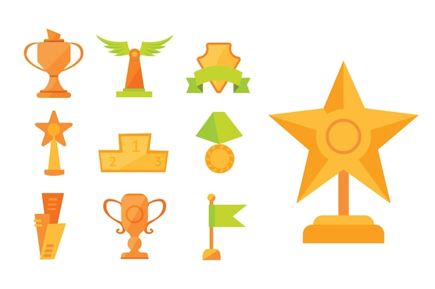Ikony zestaw filiżanek nagrody złoty sport w nowoczesnym stylu płaski.