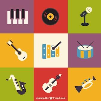 Ikony zestaw instrumentów muzycznych płaski