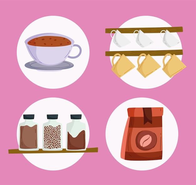 Ikony zestaw kawy