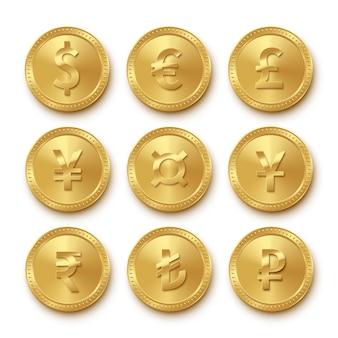 Ikony złotych monet z zestawem różnych walut, symbole kolekcji dolara, euro, funta szterlinga, jena, juana, rupii, liry tureckiej, rubla, realistyczne znaki pieniądze na białym tle