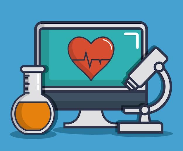 Ikony związane z komputerem i sprzętem medycznym