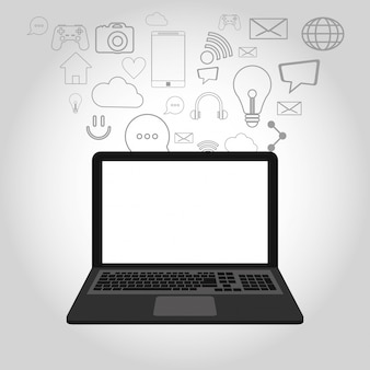 Ikony związane z laptopem i telekomunikacją