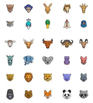 Ikony zwierząt twarze