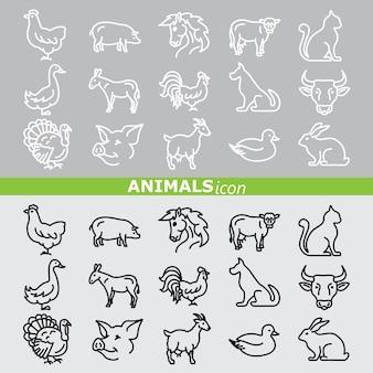 Ikony zwierząt. zestaw linii.