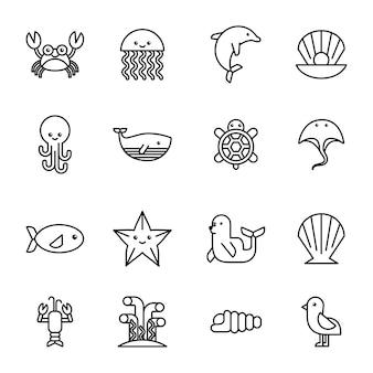 Ikony życia morza zestaw płaski remis