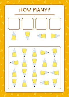 Ile butelka mikstury, gra dla dzieci. ilustracja wektorowa, arkusz do druku