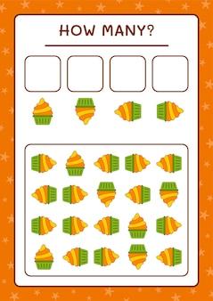 Ile ciasto cup, gra dla dzieci. ilustracja wektorowa, arkusz do druku
