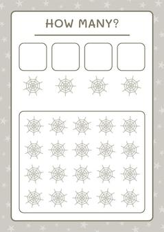 Ile cobweb, gra dla dzieci. ilustracja wektorowa, arkusz do druku