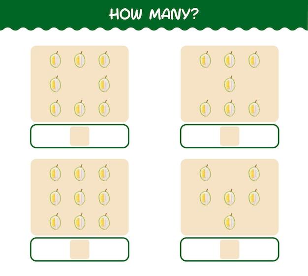 Ile durianów z kreskówek. gra liczenia. gra edukacyjna dla dzieci i niemowląt w wieku przedszkolnym