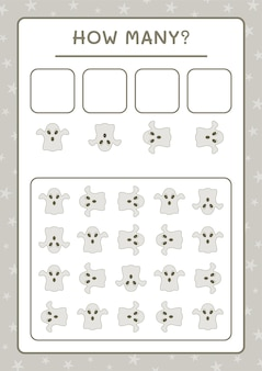Ile ghost, gra dla dzieci. ilustracja wektorowa, arkusz do druku
