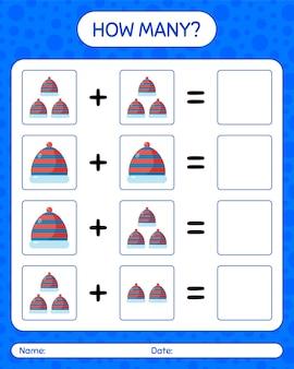 Ile gier liczących z czapką. arkusz roboczy dla dzieci w wieku przedszkolnym, arkusz aktywności dla dzieci