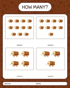Ile gier liczenia z bębnem pluskwy. arkusz roboczy dla dzieci w wieku przedszkolnym, arkusz ćwiczeń dla dzieci, arkusz roboczy do druku