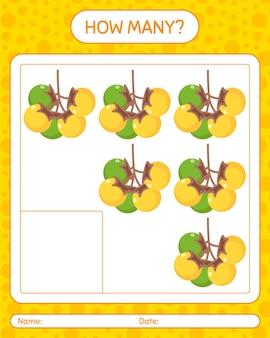 Ile gier liczenia z nance. arkusz roboczy dla dzieci w wieku przedszkolnym, arkusz ćwiczeń dla dzieci, arkusz roboczy do druku
