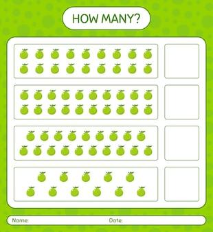 Ile gier z liczeniem z arkuszem guawy dla dzieci w wieku przedszkolnym, arkusz aktywności dla dzieci, arkusz roboczy do druku