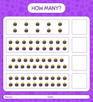 Ile gier z liczeniem z arkuszem mangostanu dla dzieci w wieku przedszkolnym, arkuszem aktywności dla dzieci, arkuszem do druku
