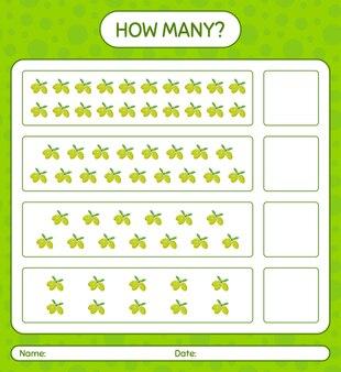 Ile gier z liczeniem z oliwkowym arkuszem roboczym dla dzieci w wieku przedszkolnym, arkusz aktywności dla dzieci, arkusz roboczy do wydrukowania