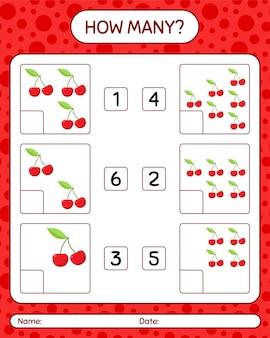 Ile gier z liczeniem z wiśniowym arkuszem dla dzieci w wieku przedszkolnym, arkuszem aktywności dla dzieci, arkuszem do druku