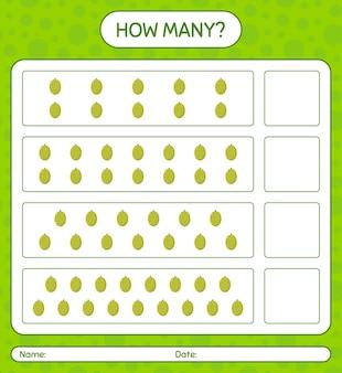 Ile gra licząca z arkuszem jackfruit dla dzieci w wieku przedszkolnym, arkuszem aktywności dla dzieci, arkuszem do druku