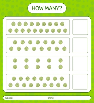 Ile gra licząca z arkuszem kantalupa dla dzieci w wieku przedszkolnym, arkusz aktywności dla dzieci, arkusz roboczy do druku