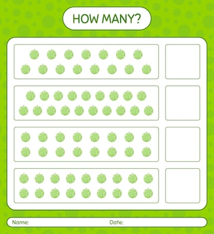 Ile gra licząca z arkuszem melona dla dzieci w wieku przedszkolnym, arkusz aktywności dla dzieci, arkusz do druku