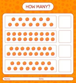 Ile gra licząca z brzoskwiniowym arkuszem dla dzieci w wieku przedszkolnym, arkusz aktywności dla dzieci, arkusz do druku