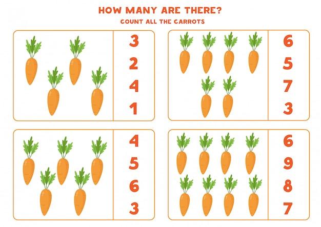 Ile jest marchewek. policz liczbę marchewek i zakreśl właściwą odpowiedź. gra matematyczna dla dzieci. edukacyjny arkusz roboczy do wydrukowania.