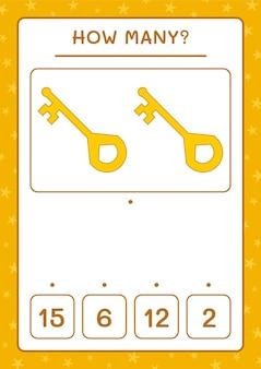 Ile klucz, gra dla dzieci. ilustracja wektorowa, arkusz do druku