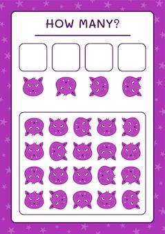 Ile kot, gra dla dzieci. ilustracja wektorowa, arkusz do druku
