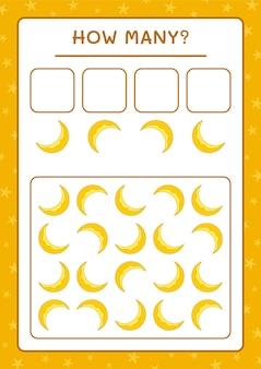 Ile księżyc, gra dla dzieci. ilustracja wektorowa, arkusz do druku