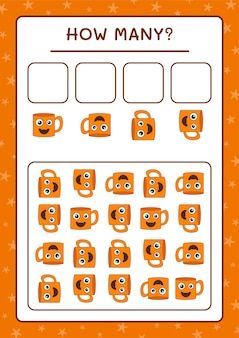 Ile kubek, gra dla dzieci. ilustracja wektorowa, arkusz do druku