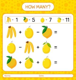 Ile licząc bananów, owoców jajecznych, melona spadziowego, cytryny. arkusz roboczy dla dzieci w wieku przedszkolnym, arkusz ćwiczeń dla dzieci, arkusz roboczy do druku