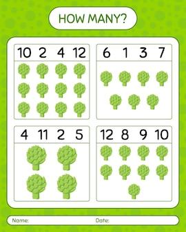 Ile liczenia gry z karczochami. arkusz roboczy dla dzieci w wieku przedszkolnym, arkusz aktywności dla dzieci, arkusz do druku