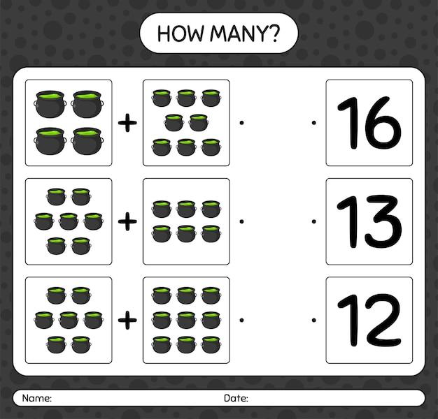 Ile liczenia gry z kociołkiem. arkusz roboczy dla dzieci w wieku przedszkolnym, arkusz aktywności dla dzieci