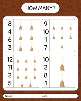 Ile liczenia gry z miotłą. arkusz roboczy dla dzieci w wieku przedszkolnym, arkusz aktywności dla dzieci