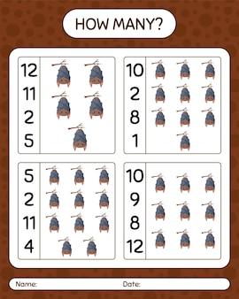 Ile liczenia gry z nietoperzem. arkusz roboczy dla dzieci w wieku przedszkolnym, arkusz aktywności dla dzieci