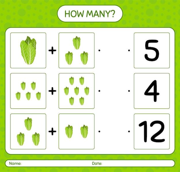 Ile liczenia gry z sałatą. arkusz roboczy dla dzieci w wieku przedszkolnym, arkusz aktywności dla dzieci, arkusz do druku