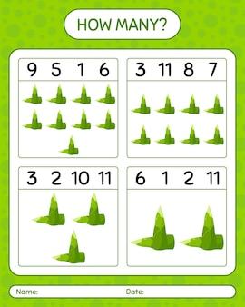 Ile liczenie gry z pędem bambusa. arkusz roboczy dla dzieci w wieku przedszkolnym, arkusz aktywności dla dzieci, arkusz do druku