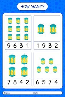 Ile liczy gra z arabską latarnią. arkusz roboczy dla dzieci w wieku przedszkolnym, arkusz ćwiczeń dla dzieci, arkusz roboczy do druku