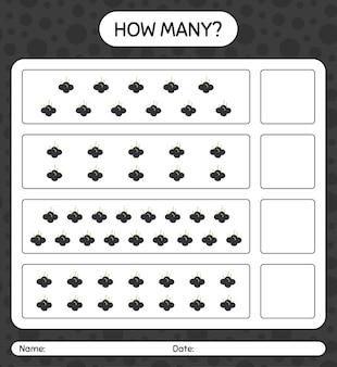 Ile liczy gra z arkuszem roboczym farrkleberry dla dzieci w wieku przedszkolnym, arkusz aktywności dla dzieci, arkusz roboczy do druku