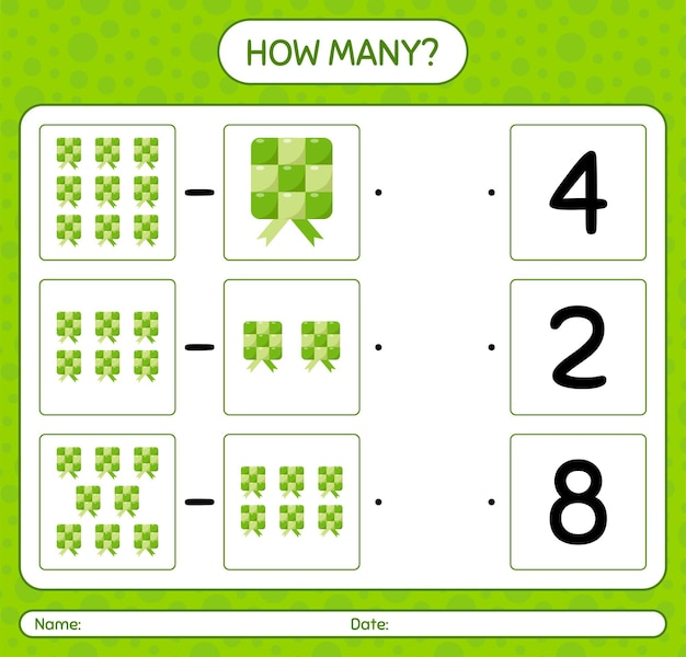 Ile liczy gra z ketupatem. arkusz dla dzieci w wieku przedszkolnym