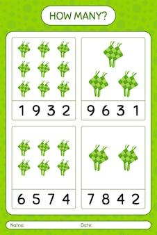 Ile liczy gra z ketupatem. arkusz roboczy dla dzieci w wieku przedszkolnym, arkusz ćwiczeń dla dzieci, arkusz roboczy do druku