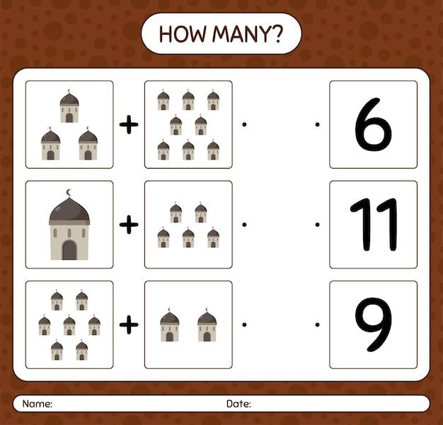 Ile liczy gra z meczetem. arkusz roboczy dla dzieci w wieku przedszkolnym, arkusz ćwiczeń dla dzieci, arkusz roboczy do druku