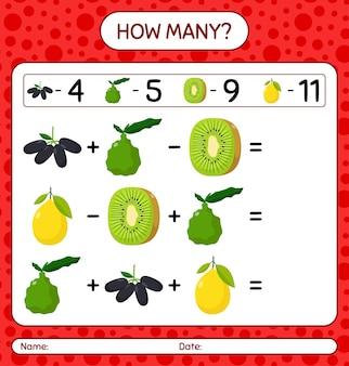 Ile liczy gra z owocami. arkusz roboczy dla dzieci w wieku przedszkolnym, arkusz ćwiczeń dla dzieci, arkusz roboczy do druku