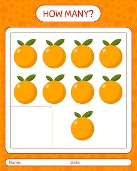 Ile liczy gra z pomarańczą. arkusz roboczy dla dzieci w wieku przedszkolnym, arkusz ćwiczeń dla dzieci, arkusz roboczy do druku